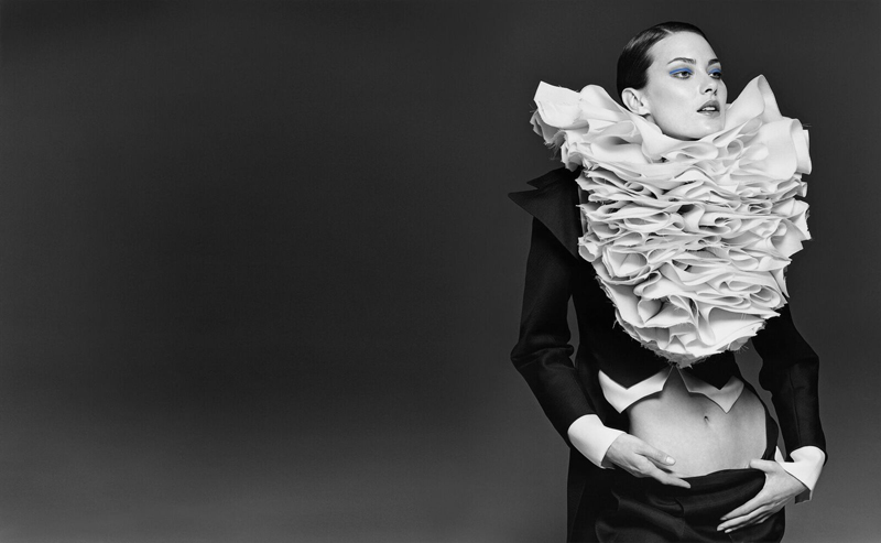 viktor-and-rolf-ruffles-detail-black-and-white-photo